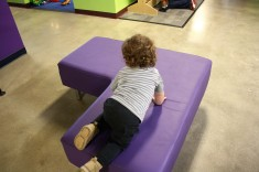 There are these little benches for parents everywhere....BK#2 LOVED how cushy and fun they were!