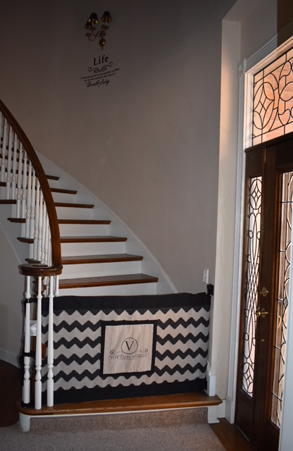 Temporary We Received A Banister To Wall, Wide, Black And Tan Chevron Print Stair  Barrier With A Personalized Patch. Our Stairs Are Smack Dab Right When You  ...
